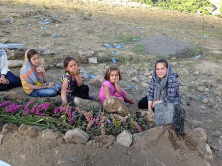 An Afghan friend, Nur Agha Akbari, was killed by gunmen in Afghanistan two weeks ago. The photo above shows his daughters sitting at his graveside.